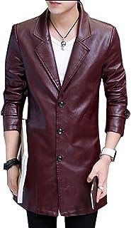 (グードコ) 秋冬 ジャケット メンズ PUコート ロング丈 レザージャケット ライダースジャケット ブルゾン バイカー シンブル 防寒