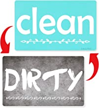 Dishwasher Magnet Clean Dirty Sign - Dishwasher Sign Waterproof and Double Sided Flip with Bonus Metal Plate,Reversible Indicator Works for Dishwasher by A AULIFE