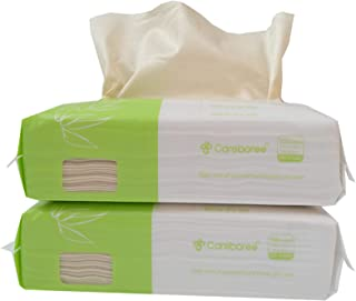 Careboree 200 Count Unbleached Cotton Tissue Unscented 100% Natural Bamboo Dry Baby Wipes, Ultra Soft and Gentle for Sensi...