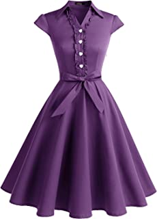 Wedtrend Vestido Vintage Escote V 1950s Cóctel Rockabilly Mujer Vestido Fiesta