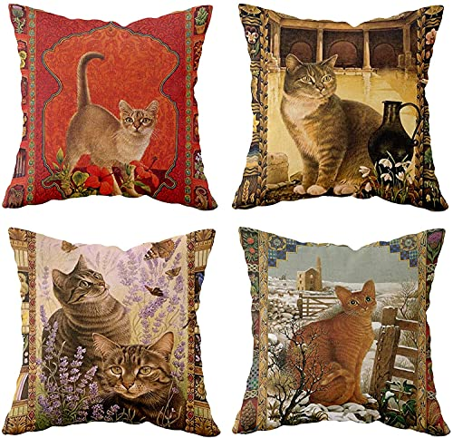 Funda de cojín decorativa de lino de algodón de 45 x 45 cm, cuadrada para sofá, cama, sala de estar, sofá, silla, coche, con cremallera invisible, paquete de 4 acuarelas