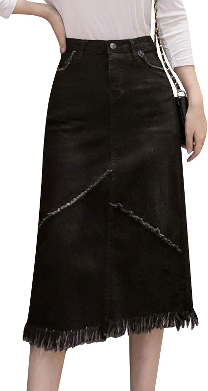 CHARTOU Women's Slim Fit High Waist Fringed Frayed Package Hip Denim Midi Bodycon Skirt