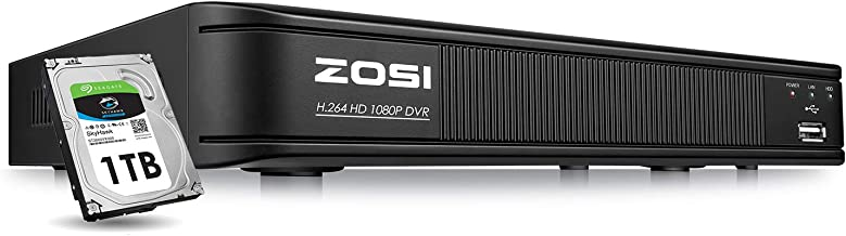 ZOSI 1080p 8 Channel Security DVR Recorder with 1TB Hard Drive, Hybrid Capability 4-in-1(Analog/AHD/TVI/CVI) Surveillance CCTV DVR for Home Cameras,Motion Detection,Remote Control,Alert Push