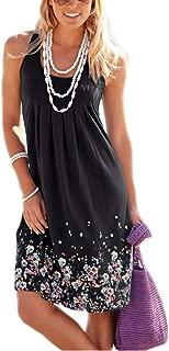 Womens Summer Casual Sleeveless Mini Printed Vest Dresses,Gray,X-Large