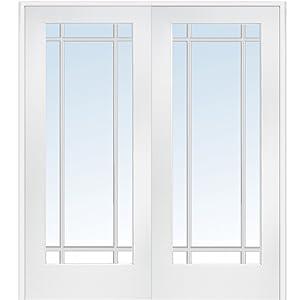 National Door Company Z009324BA Primed MDF 9 Lite Clear Glass, Prehung Interior Double Door, 72