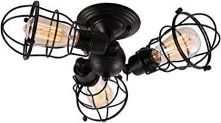 Creatgeek 3 Wire Cages Close to Ceiling Lights Industrial Rotatable Semi-Flush Mount Lamps, Black Finish Vintage Retro Fixtures for Hallway Living Room Office Bedroom(with 3 Light)