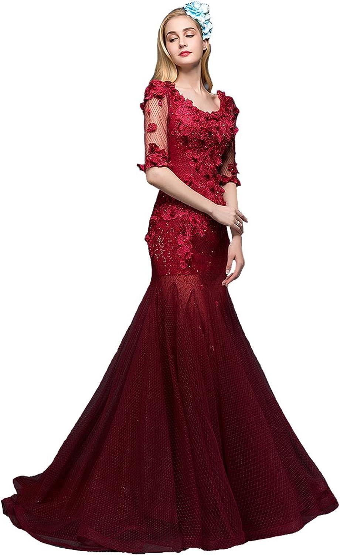 AK Beauty Women's Sequins Appliques Mermaid Tulle Evening Dress