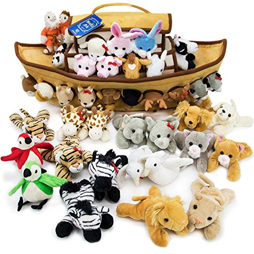 Imagination Generation 2-Foot Noah's Ark Plush Toy Playset - 42-Piece Set of 4 Stuffed Animals with Ark - Bible Story Baby Gift, Great for Easter, Christmas, Baptisms, & Christenings