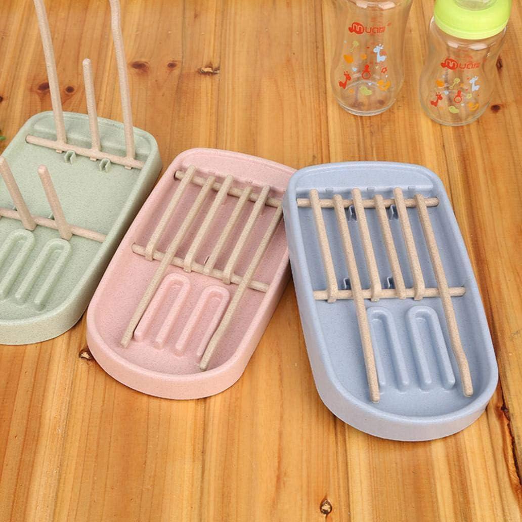 LC-Storage Baby Milchflaschen-Abtropfgestell Weizenstrohhalm Abtropfen Tassentrockner faltbare Halterung blau