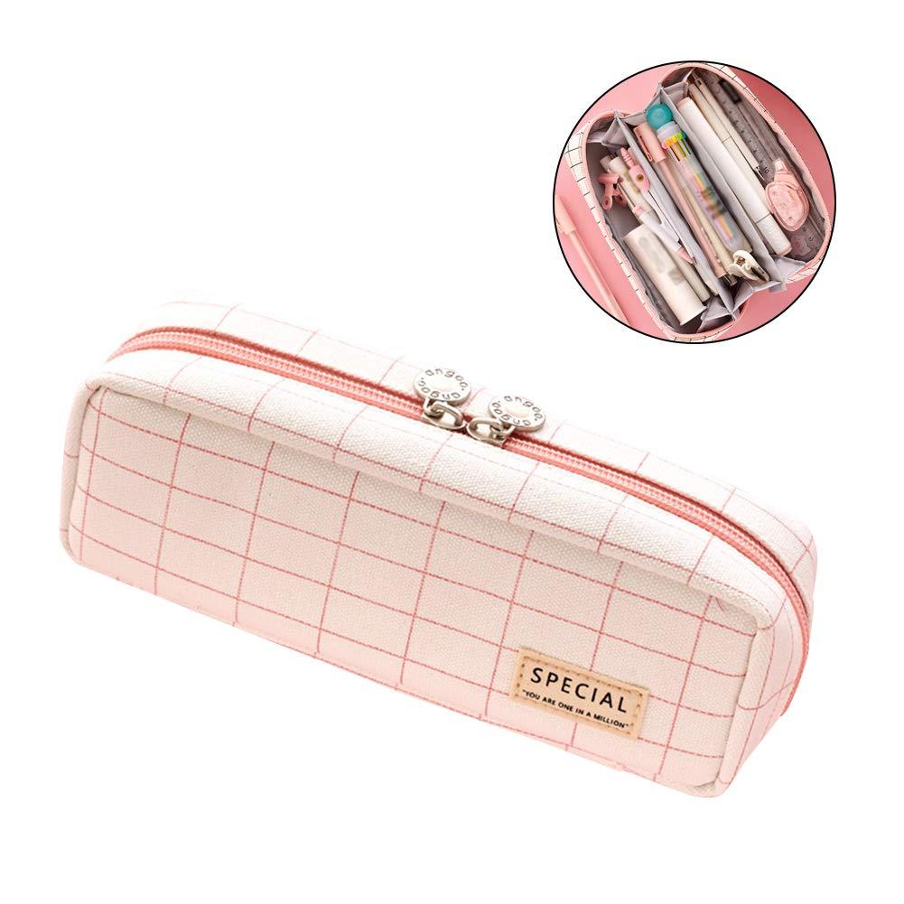 Estuche para lápices de cuadrícula con 3 compartimentos, bolsa para lápices, 2 cremalleras, para maquillaje, artículos de papelería y suministros escolares: Amazon.es: Oficina y papelería