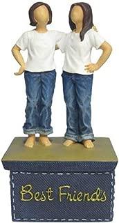 WL SS-WL-18457, 6 Inch 2 Women Friends Jeans Standing on Blue Trinket Box, 6