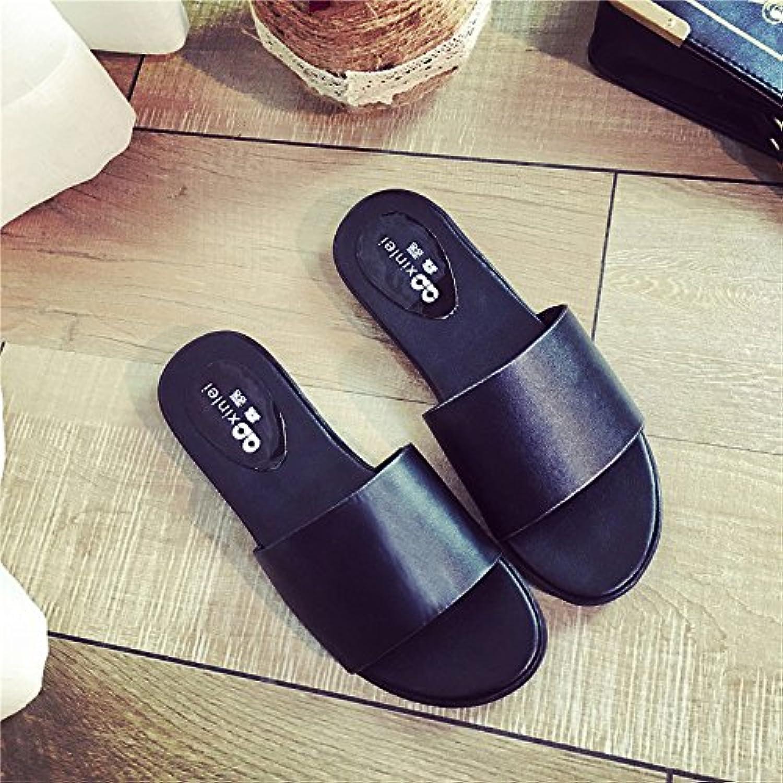 WYMBS Women's Slippers & Flip-Flops Spring Comfort PU Outdoor Flat Heel open heel slippers,black,36