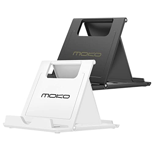 "MoKo [2 Pack] Phone/Tablet Stand, Foldable Holder Fit with iPhone 11 Pro Max/11 Pro/11, iPhone Xs/Xs Max/Xr/X, iPhone SE 2020, iPad Pro 11 2020/10.2/Air 3/Mini 5, Galaxy S20 6.2"", White + Black"