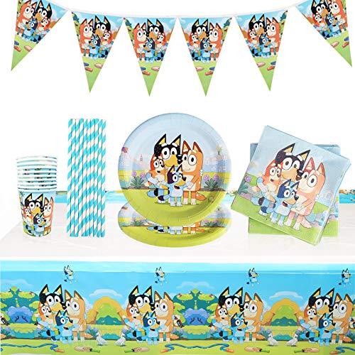 Yisscen Juego de vajilla de fiesta para cumpleaños infantiles, decoración de cumpleaños de Bingo Bluey, para 10 niños (52 unidades)
