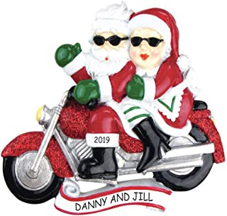 DIBSIES Personalization Station Personalized Motorcycle Mr & Mrs Claus Couples Christmas Ornament