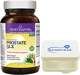 New Chapter Holistic Prostate Supplement, Prostate 5LX with Saw Palmetto - 120 Vegetarian Capsules Bundle with a Lumintrail Pill Case