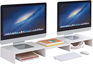 PRAISUN Large Monitor Stand Riser, Dual Computer Monitor Stand for Desk, 3 Shelf Screen Stand with Adjustable Length and Angle, Shelf Organizer for PC, Computer, Laptop, White