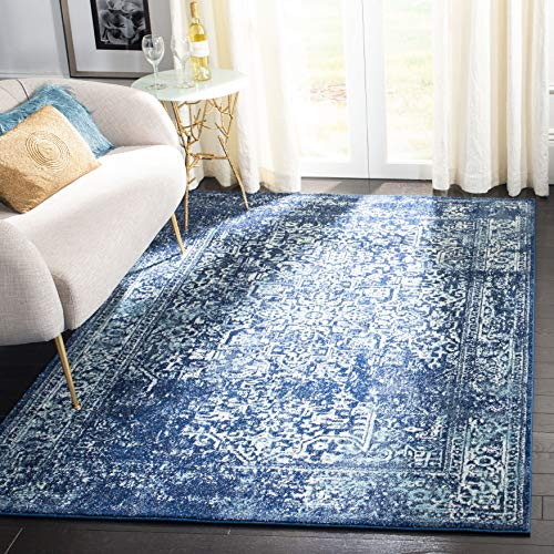 Safavieh Evoke Collection Navy and Ivory Square Area Rug, 3'