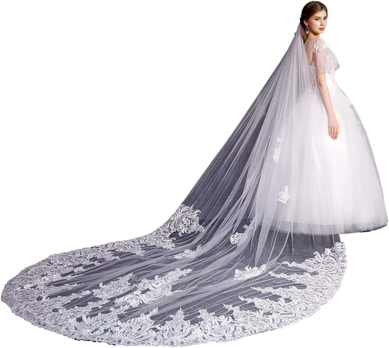 Weddings Veils 1 Tier Long Cathedral Beaded with Rhinestones bride with Comb