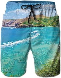 Hanauma Bay Best Place Men's/Boys Casual Shorts Swim Trunks Swimwear Elastic Waist Beach Pants with Pockets