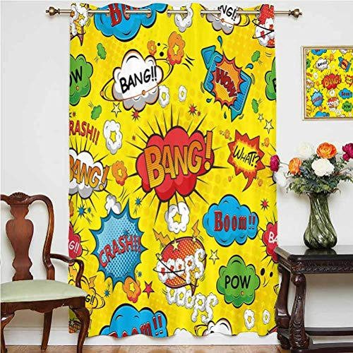 Superhero Shading Curtains Humor Speech Bubbles Funky Vivid Bang Boom Bam Pow Fiction Symbols Artful Design Grommets Panels Printed Curtains ,Single Panel 63x63 inch,for Office Multicolor