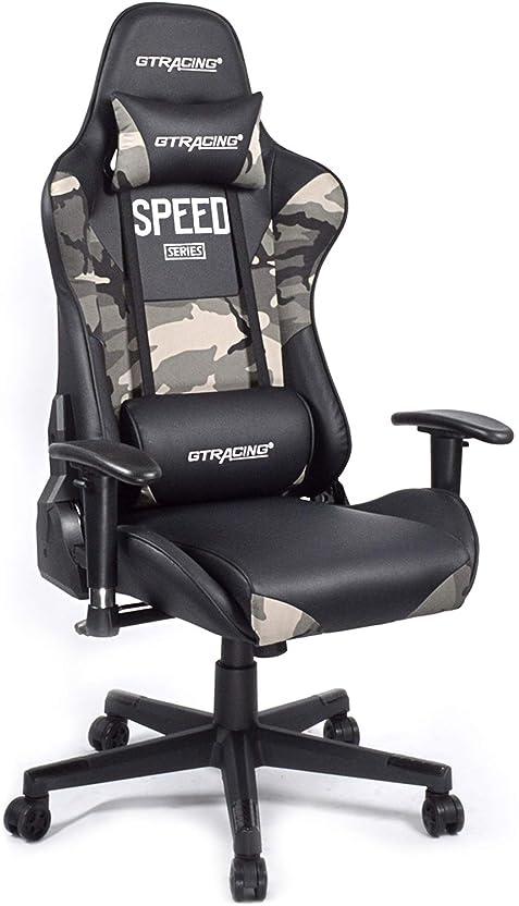ペリスコープ重々しいアイデアGTRACING ゲーミングチェア オフィスチェア リクライニング 多機能 パソコンチェア 事務椅子 ゲーム用チェア ヘッドレスト 腰痛対策 ランバーサポート ひじ掛け付き GT000 (GT000-MC)