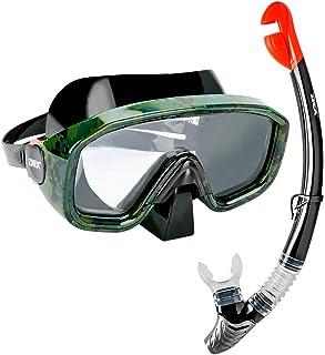 yidenguk Premium Snorkeling Set, Máscara de Snorkel Antivaho de Vidrio Templado, Kit de Buceo con Snorkel Seco para Adultos, Negro