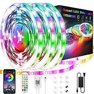 50ft Led Strip Lights,smareal Led Lights Strip Music Sync Color Changing Led Strip Lights App Control and Remote Led Lights for Bedroom Party Home Decoration