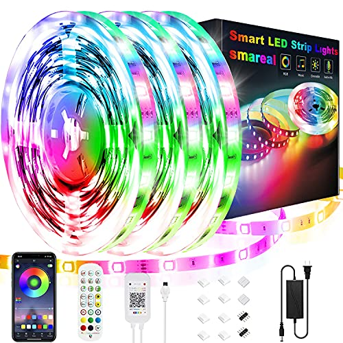 50ft Led Strip Lights, smareal Led Lights Strip Music Sync Color Changing Led Strip Lights App Control and Remote Led Lights for Bedroom Party Home Decoration(3 Rolls of 16.4ft)