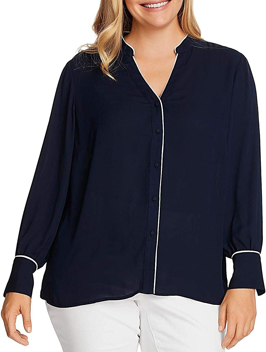 Vince Camuto Womens Sheer Hi-Low Blouse Navy 1X