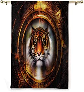 """HouseLookHome Blackout Curtain Panels Tiger Window Valance Balloon Blind Ancient Mayan Calender for Play Room Decor Decorative Rod Pocket Panel, 48"""" W x 72"""" L"""