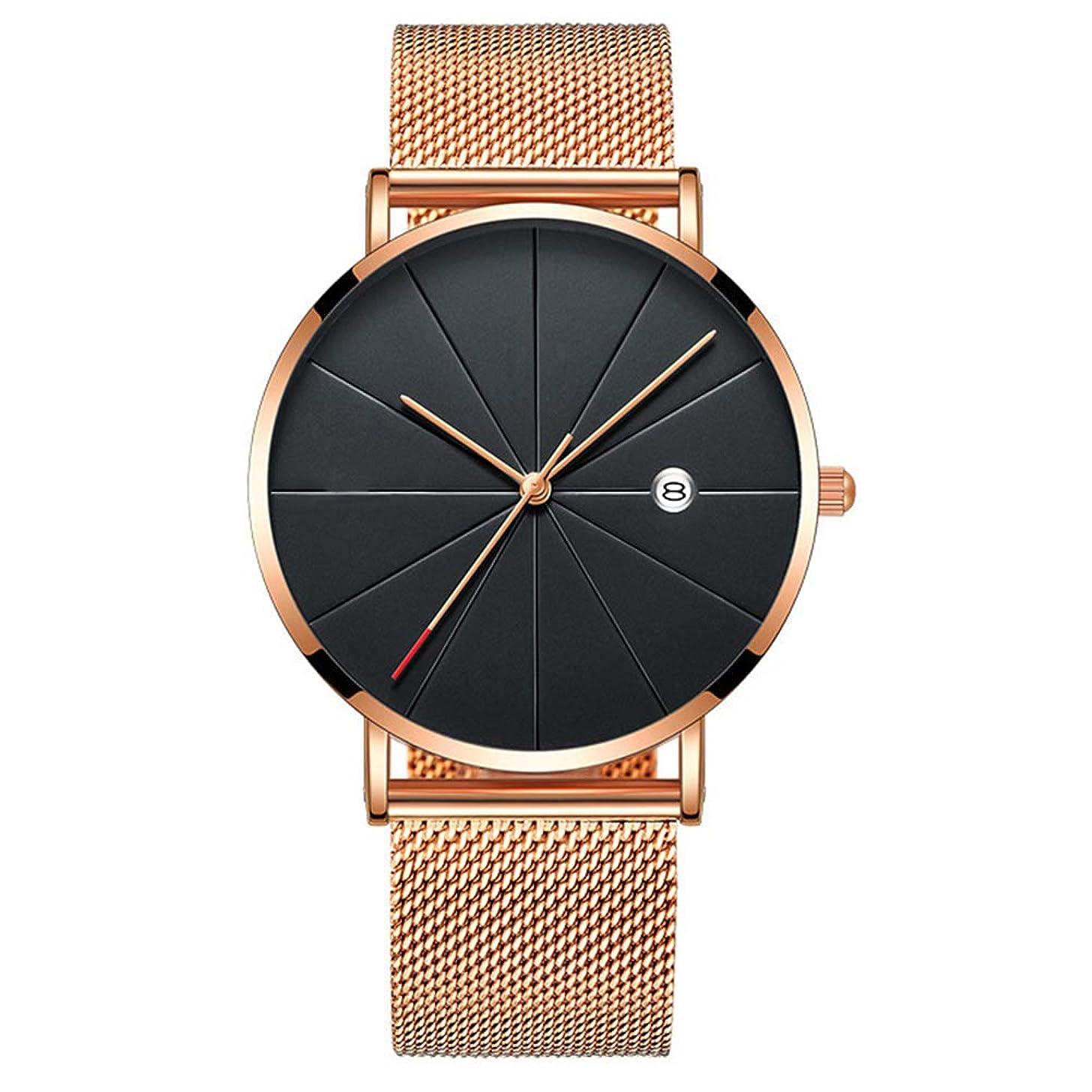 lightclub Casual Sports Men Stainless Steel Strap Round Dial Analog Quartz Wrist Watch for Women Men Black + Rose Gold