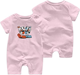 ZooJane Soft Cotton Baby Girl Jumpsuit 0-3M Rompers for Newborn with Cuphead and Mugman Pattern Pink