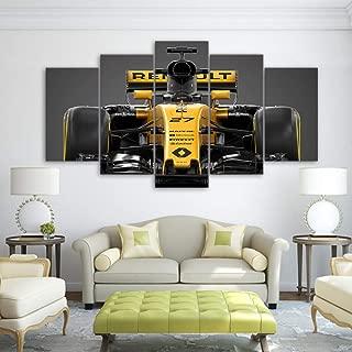 YANGSHUANG Canvas Painting of 5 Panels Wall Art Formula 1 Racing car Print Artwork Car Landscape Pictures for Living Room Bedroom Home Decoration