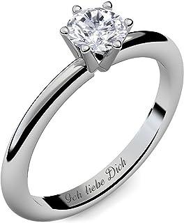 Verlobungsring Ring Damen Silber 925 von AMOONIC Zirkonia Stein mit GRAVUR & ETUI-BOX Silberring Frau Verlobungsringe Damenring rhodiniert Echt Schmuck Antragsring AM195 SS925ZIFA