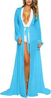 Women's Long Sleeve Flowy Maxi Bathing Suit Swimsuit Tie Front Robe Cover Up