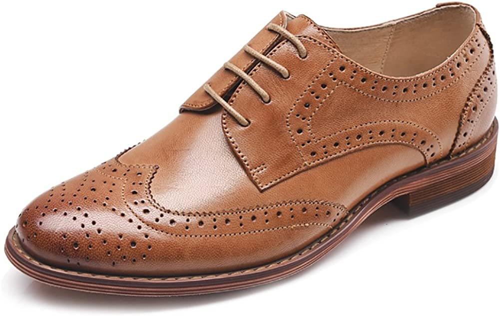 Odema Women's Leather Oxfords Perforated Lace-up Low Wingtip Hee Max 65% OFF Save money