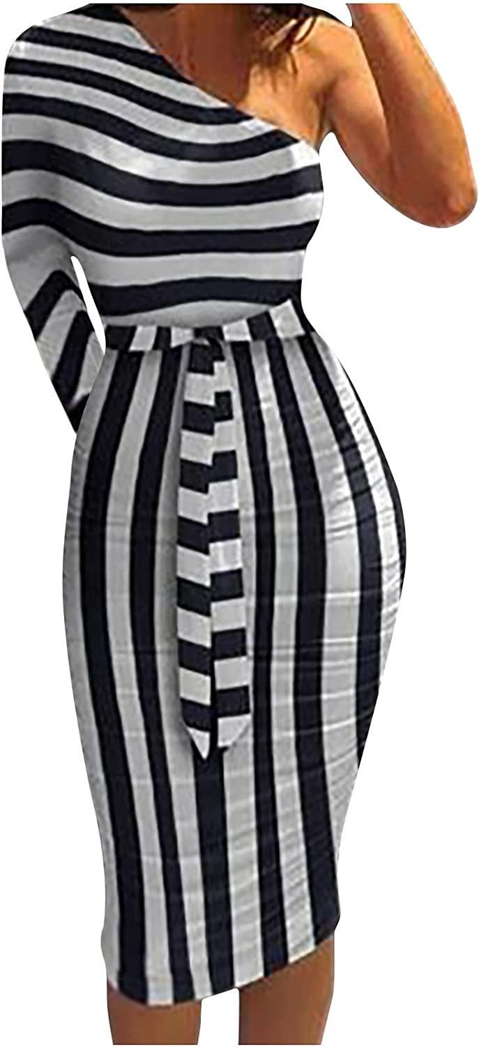Tpingfe Womens Dresses One Off Shoulder Bodycon Sexy Wrap Dress Summer Boho Maxi Dress Party Night Dress with Waist Tie
