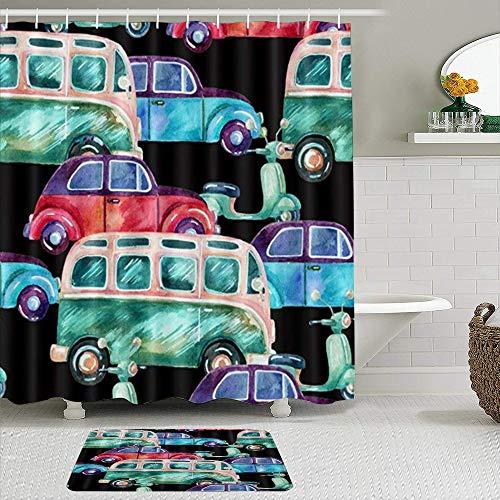 TARTINY Juego de Cortina de Ducha de2piezas con alfombras antideslizantesCortina de la Ducha,Autocaravana Hippie en Acuarela con 12 Ganchos