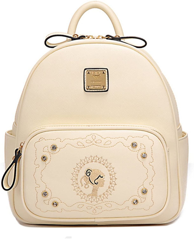 Katoony Girls PU Retro Casual Embroidery Backpack Satchel School Shoulder Bags