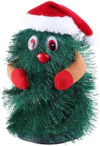 infactory Tanzender Tannenbaum: Singender & Tanzender Weihnachtsbaum Little Swinging Xmas Tree, 15cm (laufender Baum zu Weihnachten)