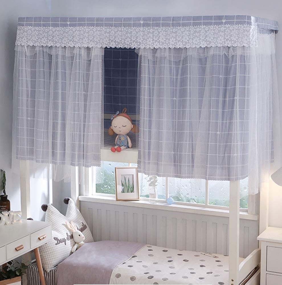 Students Dorm Bunk Bed Curtains Canopy Brethable Single Sleeper Bed Tent Shading Curtain Net Privacy Draperies Dustproof Blackout Cloth Panel Bed Canopy Bedding Supplies For Home School College 1pc Home Kitchen