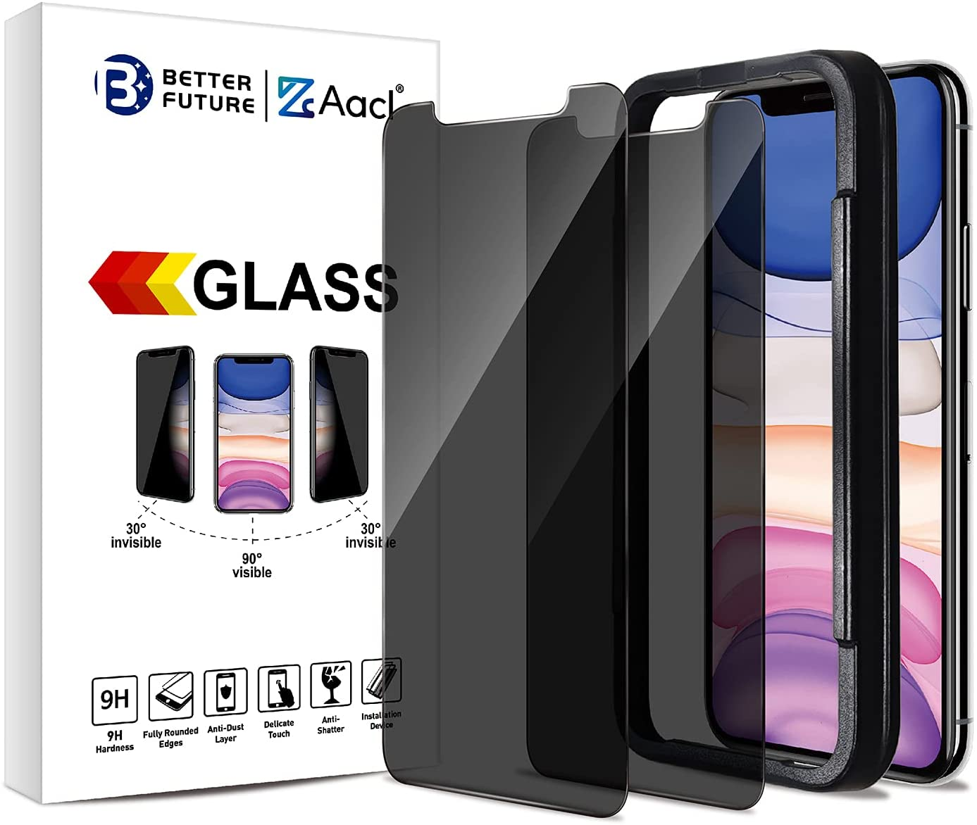 Privacy Screen Protector for iPhone 11 Pro Max/XS Max,6.5 Inch,Anti Spy Tempered Glass Film,2 Pack