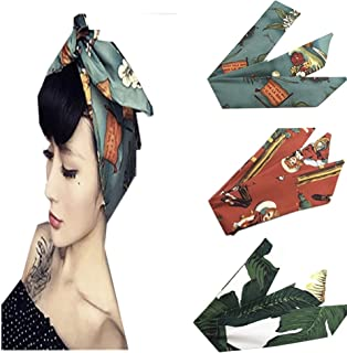 Vintage Women Headband 3 Pcs Cotton Floral Printed Turban Hair Wrap Retro Hairband