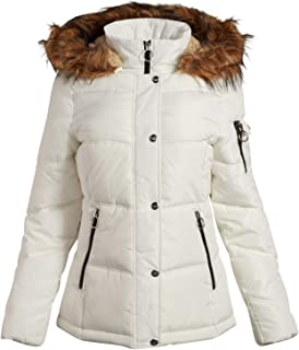 Madden Girl Women's Winter Puffer Jacket with Zippered Pockets and Fur Trim