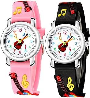 Hemobllo Enfants Regardent Les Machines à Remonter Le Temps Guitare Modèle Enfant Montre Analogique Temps Montre-Bracelet ...