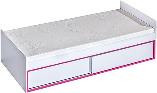 Kinderbett Jugendbett Frank 13 inkl. Lattenrost, Farbe  Weiß Rosa - 90 x 200 cm (L x B)