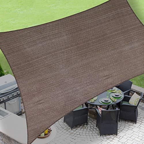 LOVE STORY 8' x 12' Rectangle Brown Sun Shade Sail Canopy UV Block Awning...