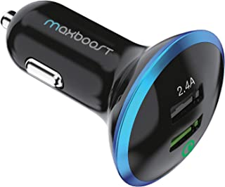 Maxboost 30W Dual USB Car Charger, Quick Charge 2.0 USB for Galaxy S10/S10+/S10e/S9/S8/Edge/Plus/Note 9 8, 2.4A Smart Port for iPhone Xs/XS Max/XR/X/8/7/6/Plus, iPad Pro/Air,LG G7 Nexus, HTC and More