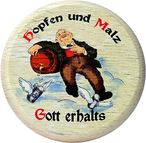 Kaltner Präsente Geschenkidee - bescherming tegen insecten voor glazen en drankjes van echt hout/bier wijn bierdeksel bierglazen wijnglazen kopjes biertuin/motief humor - hop en mout God houder